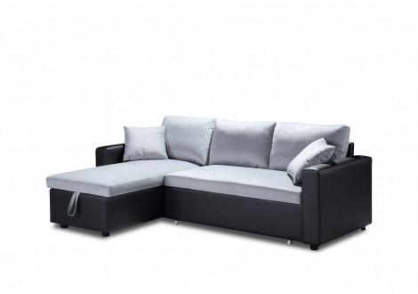 Canapé d'angle convertible ORIGAMI PU noir/tissu lin gris