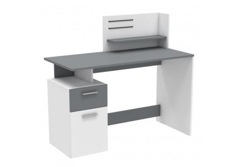 Bureau PLATON 1 porte 1 tiroir Blanc et gris