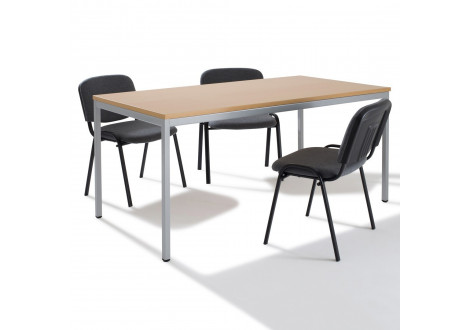 Table de réunion rectangulaire modulable L140 H75 Silver/Hêtre