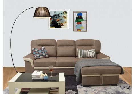 Canapé d'angle convertible FARO nubuk gris avec coutures beige
