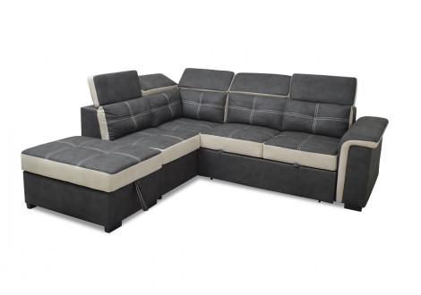 Canapé d'angle convertible FLAVIE nubuk noir avec coutures beige