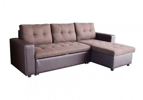 Canapé d'angle convertible réversible FLEXI tissu marron/PU chocolat