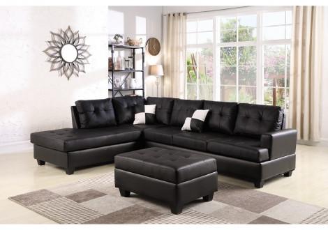 Canapé d'angle avec pouf PANAMERA PU noir