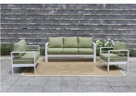 Salon 3 pièces PATIO alu blanc tissu vert: 1 canapé 3 place + 2 fauteuils 1 place