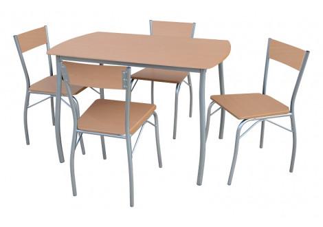 Ensemble table + 4 chaises SOHO plateau hêtre/pieds argentés