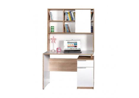 Bureau SONO blanc/chêne étagères supérieures et compartiments bas