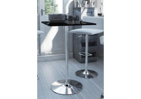 Table haute bistrot TALL noir laqué/chrome