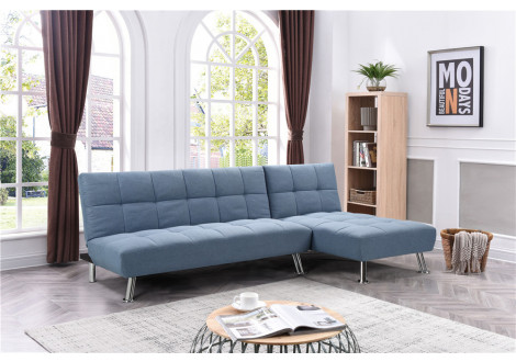 Canapé d'angle convertible MAUI tissu Bleu