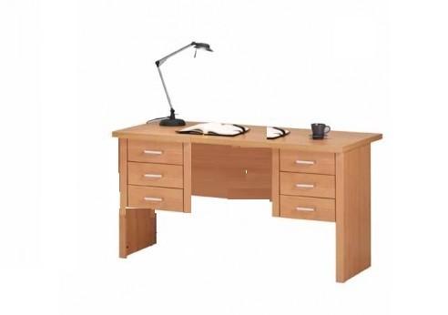 Bureau 6 tiroirs leonardo h tre naturel bureaux for Bureau 6 tiroirs
