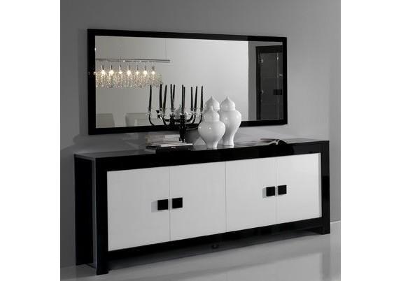 Buffet bas 4 portes chess noir blanc laqu buffets vaisseliers vitrines s - Buffet bas noir laque ...