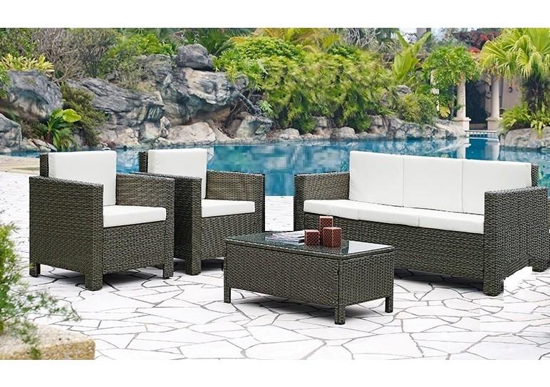 salon de jardin 4 pi ces convivio gris clair 1 canap 3 places 2 fauteuils 1 table basse. Black Bedroom Furniture Sets. Home Design Ideas