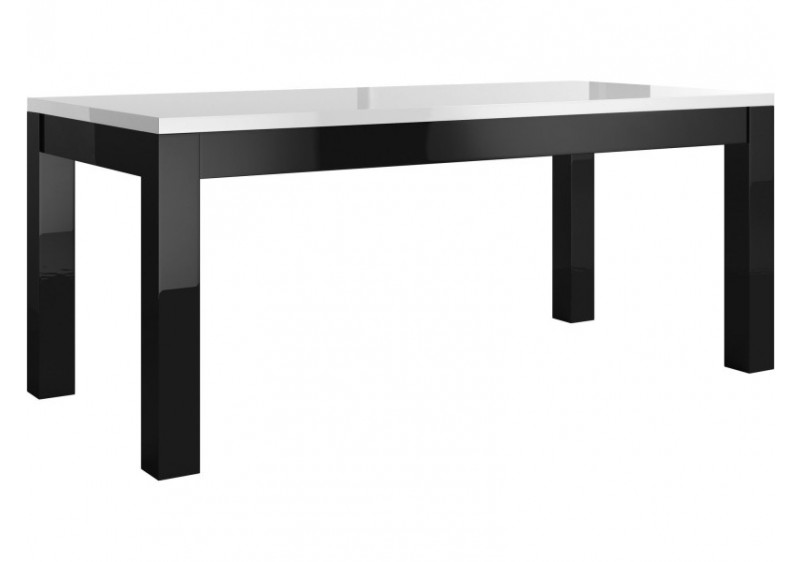 Table de salle à manger CHESS laqué blanc/noir