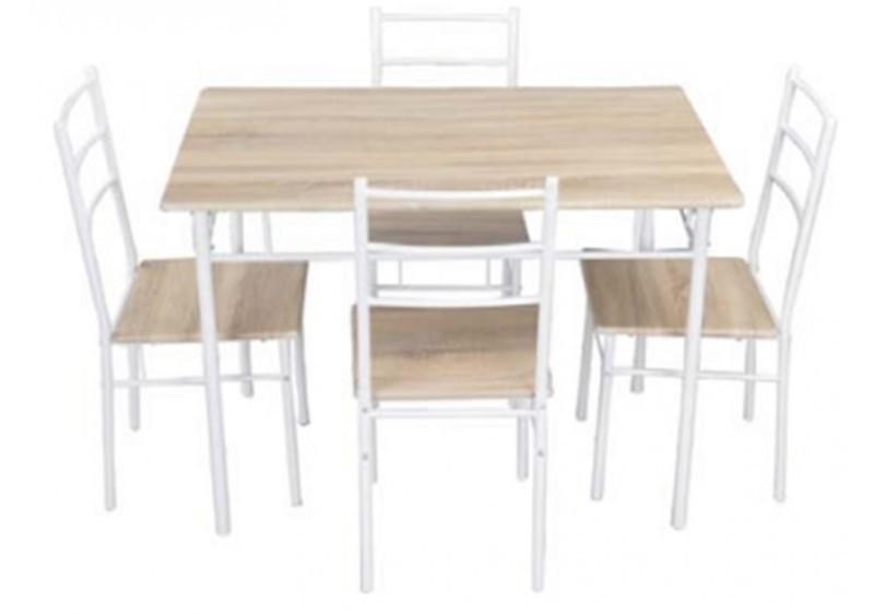 Ensemble 1 Table 4 Chaises ANNA Chne Blanc