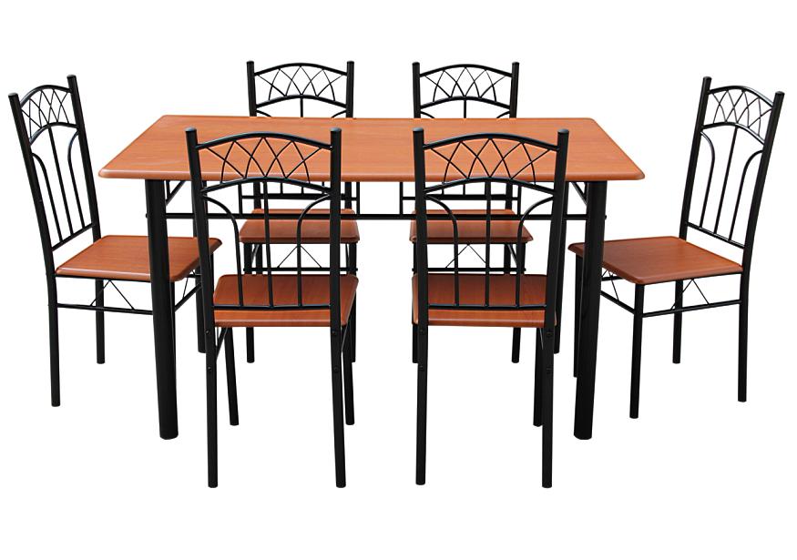 Ensemble 1 table rectangulaire 6 chaises black 2 for Ensemble table et chaise sejour