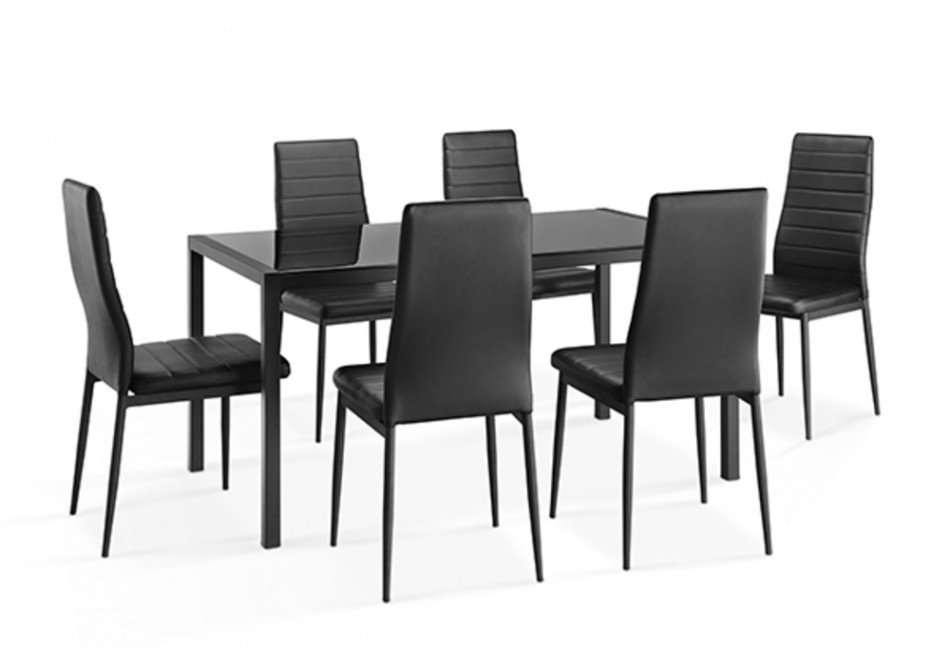 Ensemble 1 table + 6 chaises CHELSEA noir - Ensembles tables + ...