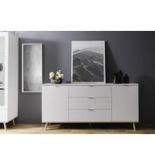 Buffet bas 2 portes 3 tiroirs GOTEBORG blanc/chêne sonoma