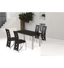 Ensemble Table + 4 chaises STAR 2 noir/chrome