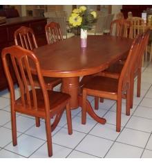 Ensemble Table + 6 chaises EMPIRE en hévéa massif teinté merisier