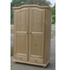 Armoire 2 portes/2 tiroirs NEUILLY en pin massif vernis naturel