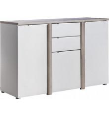 Buffet bas 3 portes 2 tiroirs NOBEL chêne/blanc