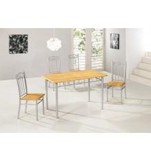 Ensemble 1 Table rectangulaire + 4 Chaises FIRST 2 hêtre/argent