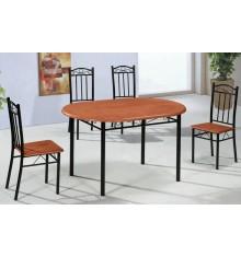 Ensemble 1 table + 4 Chaises OVALE merisier/noir