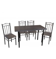 Ensemble 1 table rectangulaire + 4 Chaises BLACK noir/noir