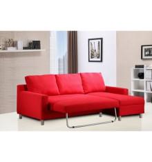 Salon d'angle convertible ALBEA tissu rouge