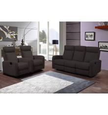 Salon recliner 3 pièces BERGAME tissu marron (1 canapé 3 places/2 relax + 2 fauteuils 1 place relax)
