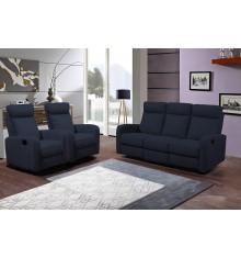 Salon recliner 3 pièces BERGAME tissu bleu (1 canapé 3 places/2 relax + 2 fauteuils 1 place relax)