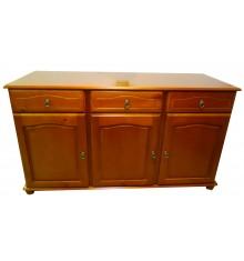 Buffet bas 3 portes/3 tiroirs NEUILLY en hévéa teinté merisier