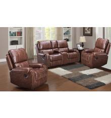 Salon 3 pièces relax: 1 canapé 3 places relax + 2 fauteuils 1 place relax COCOON cuir marron