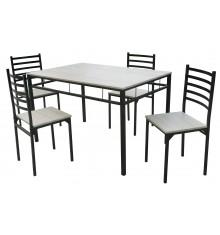 Ensemble 1 table + 4 chaises SQUARE blanc/noir