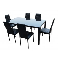 Ensemble 1 table + 6 chaises CHELSEA noir
