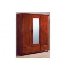Armoire 3 portes/2 Tiroirs / 1 miroir FLORA  Merisier