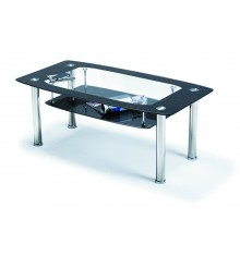 Table basse ELISA verre noir/chrome