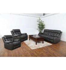 Salon recliner 3 pièces LONG BEACH pvc noir (1 canapé 3 places + 2 fauteuils 1 place)
