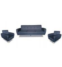 Salon 3 pièces CONVERSO tissu gris foncé: 1 canapé 3 places + 2 fauteuils 1 place