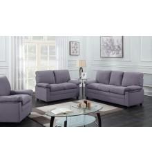 Salon 3 pièces CHICAGO tissu gris foncé (1 canapé 3 places + 2 fauteuils 1 place)
