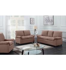 Salon 3 pièces CHICAGO tissu marron foncé (1 canapé 3 places + 2 fauteuils 1 place)