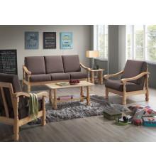 Salon 4 pièces LIMA pin naturel tissu pavé marron (1 canapé 3 places + 2 fauteuils 1 place + 1 table basse)