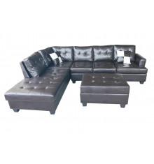 Canapé d'angle + pouf PANAMERA PU marron