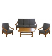 Salon 4 pièces LIMA merisier (1 canapé 3 places + 2 fauteuils 1 place + 1 table basse)