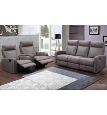 Salon recliner 3 pièces BERGAME tissu gris (1 canapé 3 places/2 relax + 2 fauteuils 1 place relax)