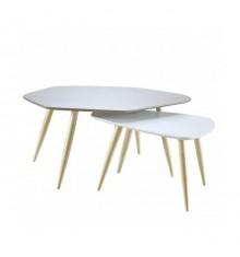 Lot de 2 Tables de salon ORGANIC taupe/blanc