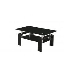 Table basse NOE verre noir/laqué noir