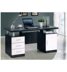 Bureau 3 tiroirs/1 porte ULYSSE Wengé/blanc