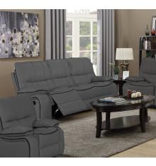 Salon 3 pièces relax: 1 canapé 3 places relax + 2 fauteuils 1 place relax VOLUPTO tissu gris foncé