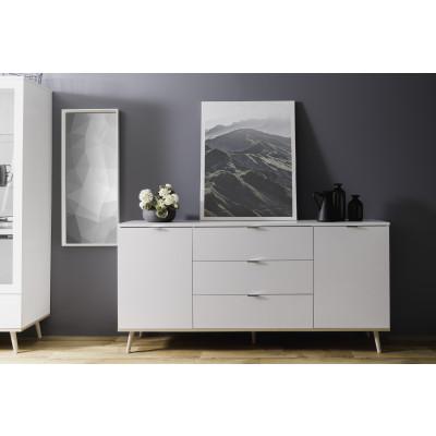 Buffet bas 2 portes/3 tiroirs GOTEBORG blanc/chêne sonoma