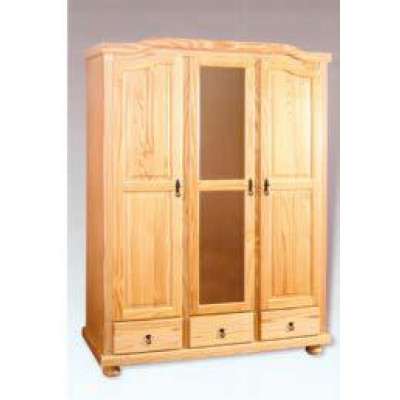 Armoire 3 portes/3 tiroirs/1 miroir NEUILLY en pin massif vernis naturel